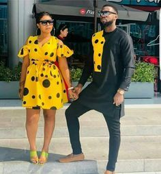 ankara stil How about this look for you and your spouse for a photoshoot,engagements,weddings,outings etc? I will carefully sew them for you and your spouse with high quality fabric prints Couples African Outfits, African Clothing For Men, African Shirts, African Attire, African Dress, African Fabric, African Women, African Fashion Ankara, Latest African Fashion Dresses