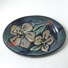 Oval Ceramic Plate with Majolica Glaze by aspeerstudio on Etsy, $18.00