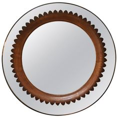 Circular Walnut Wall Mirror by Fratelli Marelli Italy, circa 1950s | From a unique collection of antique and modern wall mirrors at https://www.1stdibs.com/furniture/mirrors/wall-mirrors/