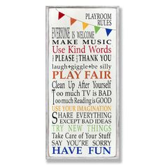 Found it at Wayfair - The Kids Room Playroom Rules Rainbow Skinny Rectangle Wall Plaque http://www.wayfair.com/daily-sales/p/Create-the-Ultimate-Kids%27-Playroom-The-Kids-Room-Playroom-Rules-Rainbow-Skinny-Rectangle-Wall-Plaque~SXI1428~E22176.html?refid=SBP.rBAZEVW2PyVv9HPNefj0AsDUecKGeEdYmdD4zf1o2vc