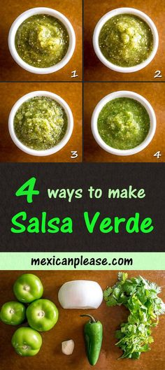 are four different ways to make Salsa Verde -- I typically use the oven to roast the tomatillos but the broiler comes in a strong second. Tomatillo Recipes, Tomatillo Salsa Verde, Salsa Verde Recipe, Salsa Picante, Mexican Salsa Verde, Verde Sauce, Spicy Salsa, Mexican Food Recipes, Vegetarian Recipes