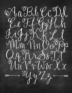 Chalkboard Alphabet by Virginia Lucas Hart Journal, hand lettering, alphabet, font Easy hand drawn lettering great for journaling scrapbooking wedding invitations Chalk Lettering, Hand Lettering Fonts, Creative Lettering, Brush Lettering, Lettering Tutorial, Script Fonts, Hand Lettering Styles, Lettering Ideas, Typography Fonts