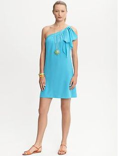 Trina Turk silk one-shoulder dress | Banana Republic. Necklace is amazing too.