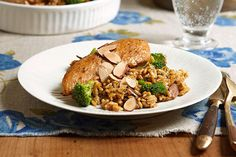 Sliced almonds lend an elegant touch to this fast and easy weeknight chicken and rice skillet dish.