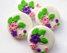 Items similar to Purple and Pink Flowers - set of 4 polymer clay buttons READY TO SHIP! on Etsy Pink Flowers, Polymer Clay, Purple, Unique Jewelry, Handmade Gifts, Buttons, Ship, Desserts, Etsy