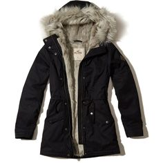 Hollister Faux Fur Lined Parka ($80) ❤ liked on Polyvore featuring outerwear, coats, jackets, tops, abrigos, black, faux fur lined hooded parka, hooded parka coat, zip coat and hooded coat