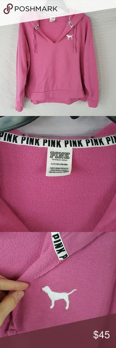 Victoria's Secret PINK Nation Hoodie Victoria's Secret PINK Nation hoodie, up close may see signs of very mild wear otherwise in excellent condition.  Pink hoodie with white stitched dog and white print, kangaroo pocket, v-neck, side slits. PINK Victoria's Secret Tops Sweatshirts & Hoodies