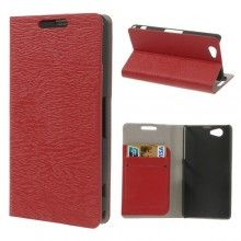 Funda Sony Xperia Z1 Compact Book Wood Wallet Roja  $ 132,00