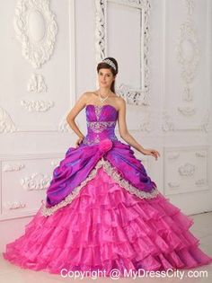 New Style Strapless Appliques Tiered Quinceanera Dress for Girl - MyDressCity.com