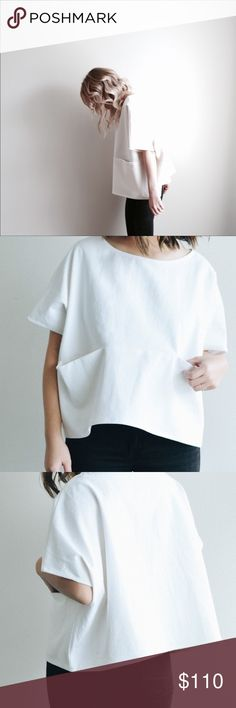 White box top with pockets Material: 100% Cotton French Seams Color: White Denim Care: Machine wash, do not bleach, hang dry or tumble dry low, warm iron if needed All fabric is pre-washed + shrunken to ensure quality care standards Made in Nashville jamie and the jones Tops