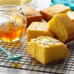 Honey Corn Bread Recipe -It's a pleasure to serve this moist corn bread to family and guests. Honey gives it a slightly sweet taste. Most people find it's difficult to eat just one piece. -Adeline Piscitelli, Sayreville, New Jersey