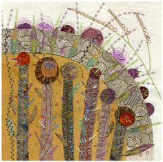 embroidery using velvets, linens, artists own printed fabric