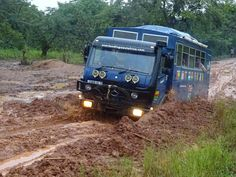 The road between Guinea Bissau and Guinea can be a challenge int he wet - but Aminah our overland truck sailed through with ease! Overland Truck, Expedition Truck, Ambulance, Off Road Rv, Guinea Bissau, West Africa, Cool Trucks, Camper Van, Offroad