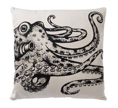 Octopus screen printed cotton cushion cover Gaming Lounge, Octopus Print, Back To Black, Cushion Covers, Printed Cotton, Screen Printing, Cushions, Ink, Artwork