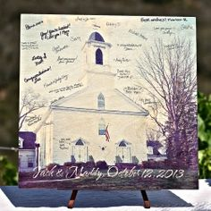 This is a fun spin on the traditional wedding guest book: Have your guests sign a picture of the ceremony site.  We used wooden wall art fro...