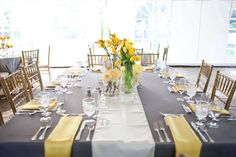 yellow and gray table setting ; somewhat my colors :)