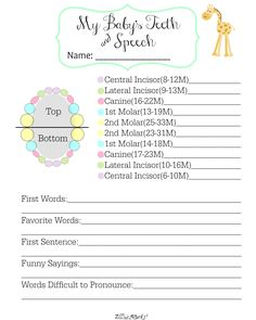 Track Baby's Teeth and Speech with this Free Printable |AllThatSrocks.com | I love the chart and where I can write down the funny words they make up! Awesome #Baby