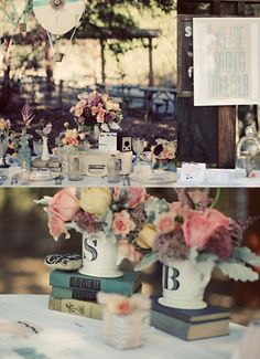 For a garden wedding/party! Vintage books, flowers, and monograms.