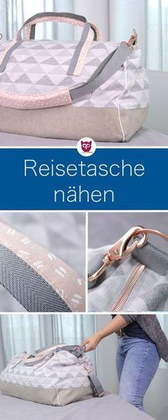 Reisetasche / Shopper nähen mit Schnittmuster von burda und Individualisierungen von DIY Eule mit Kunstleder, Tragegurt, Paspelband, Gurtband, Seitentasche mit verdecktem Reißverschluss und mehr.