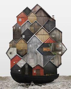 Wood boathouse