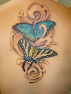 Butterflies flowers with lady bug tattoo design Butterfly Tattoos Images, Butterfly Tattoo Meaning, Butterfly Tattoo On Shoulder, Small Butterfly Tattoo, Butterfly Tattoo Designs, Tattoo Images, Tattoo Small, Butterfly Design, Flower Tattoos