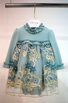 Pitti Bimbo 82 Quis Quis fall winter 2016 light blue dress with flowers…