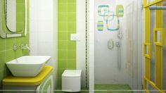 37 Ideas for bathroom wallpaper green interior design Bathroom Wallpaper Green, Green Bathroom Interior, Kid Bathroom Decor, Green Interior Design, Bathroom Colors, Modern Bathroom, Bathroom Green, Bathroom Designs, Tropical Bathroom