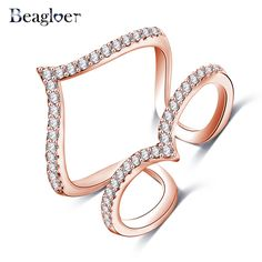 Beagloer New Design Womens Finger Ring Rose Gold Plated Micro Inlay CZ Diamond Double V Shaped Party Jewelry CRI1030