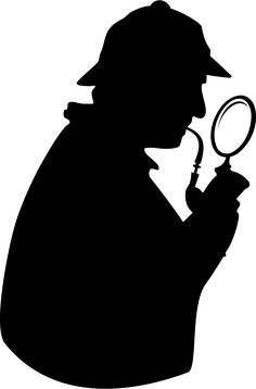 Consulting detective with pipe and magnifying glass  by DooFi - detective silhouette i vectorized. i only needed the upper body and that was...