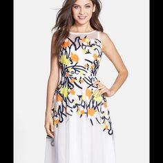Eva Franco Harper Dress in Sherbet Adorable light and flowery dress perfect for any occasion! Side zip with hook & eye closure. Made in USA. Dry clean only. Eva Franco Dresses Midi