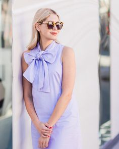 Jennifer of Modern Ensemble shows how the bow trend is done in our Stripe Bow-Neck Dress. This chic frock in crisp cotton is a fun, feminine twist on menswear and the perfect summer piece. We love it with flat slides for weekday errands and with sky high heels and sparkly jewelry for date night.