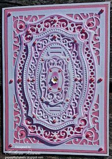 Paper Play by Kathi: Pink and White Majestic Labels Card
