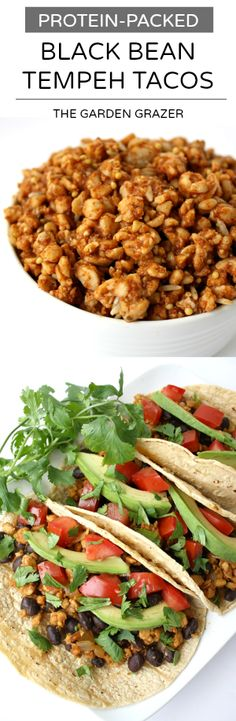 Protein-packed vegan tacos with black beans and taco-seasoned tempeh! A super easy weeknight meal (vegan, gluten-free)