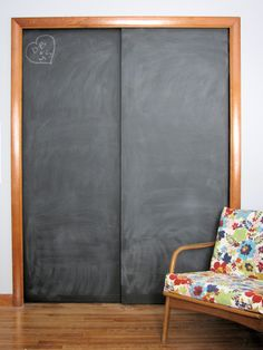 This is a great idea for a kids room or rec room closet.so doing this in my kids rooms I knew I saved their closet doors for a reason now I do not have to paint their walls in chalk paint