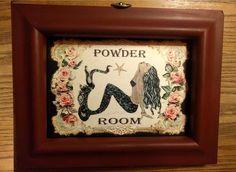 Red Haired Mermaid Powder Room Bathroom Wall Art Print or Cross Stitch Pattern