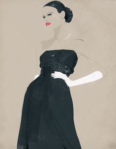 Lady in black dress & white gloves. Illustration by Andrew Archer, NZ (c2010)