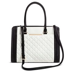 Women's Faux Leather Two Tone Quilted Satchel with Interior Padded Tablet Pocket : Target