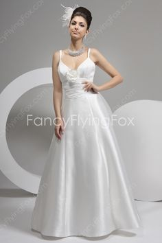 Spaghetti Straps V-neckline A-line Full Length Casual Beach Bridal Gowns