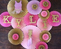 Ballerina Theme Paper Rosettes- Set of 13, Ballerina Birthday, Ballerina Baby Shower, Tutu Party, Pink and Gold Birthday, Ballerina Backdrop