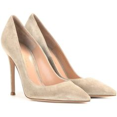 Gianvito Rossi Gianvito 105 Suede Pumps (2.550 RON) ❤ liked on Polyvore featuring shoes, pumps, heels, beige, suede pumps, beige pumps, gianvito rossi, heel pump and suede leather shoes