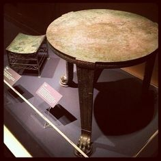 Bronze table and footstool, A Day in Pompeii exhibit, Denver Museum of Nature and Science.