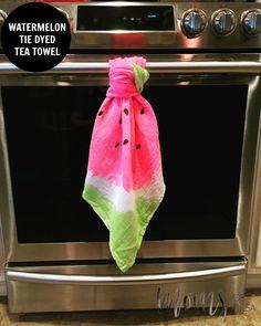Watermelon Tie Dye Tea Towel - http://momsoftulsa.com/watermelon-tie-dye-tea-towel/