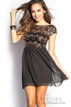 Paige Black and Gold Sequin Mesh Flowy Short Dress with Sleeves