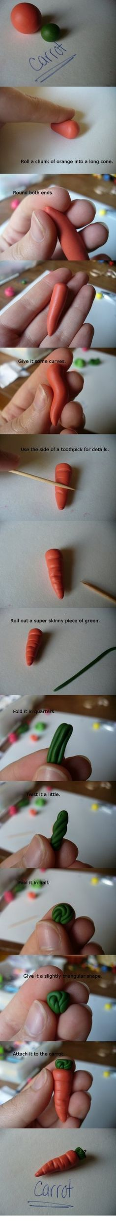 Carrot Polymer Clay Tutorial by ~paperfaceparade on deviantART