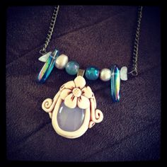 Chalcedony necklace with fresh water pearls by thisthatandthese, $20.00