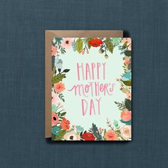 Whimsical Floral Mother's Day Greeting Card // 1 by blacklabstudio