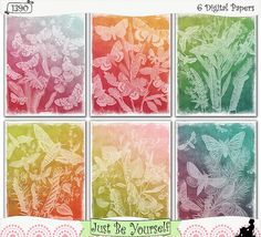 "Embossed Butterflies Collection 1 Printable Art Journal papers by JustBYourself. Distressed, ombre layers of dark and ""embossed"" vintage butterflies are featured on these printable art journal papers. Instant download collection of 6 - 8.5"" x 11"" papers. (1390) $2.50"