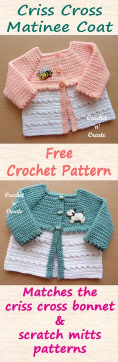 Crochet Baby Patterns Free baby crochet pattern for a crisscross matinee coat. Baby Girl Crochet, Crochet For Kids, Free Crochet, Knit Crochet, Crochet Baby Sweaters, Crochet Baby Clothes, Baby Knitting, Knitting Yarn, Free Knitting
