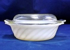 Vintage Fire King Casserole Dish Petite Milk Glass White Swirl w/ Dome Lid