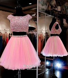 Pink Homecoming Dress with Piece Homecoming Dresses,Beading Homecoming Gowns,Short Prom Gown,Sweet 16 Dress,Bling Homecoming Dress 2 Piece Homecoming Dresses, Prom Dresses For Teens, Prom Gowns, Party Dresses, Graduation Dresses, Dress Prom, Gown Dress, Sheer Dress, Wedding Gowns